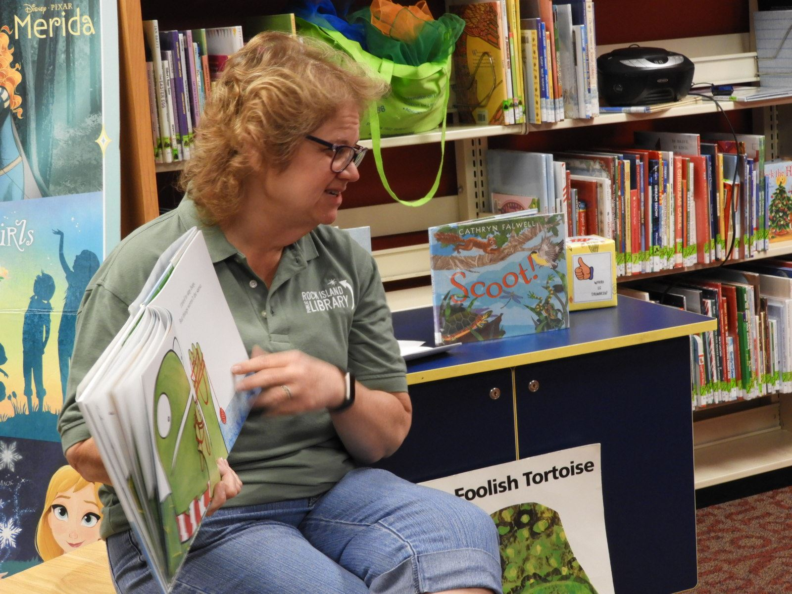 Miss Ranell reading at a storytime
