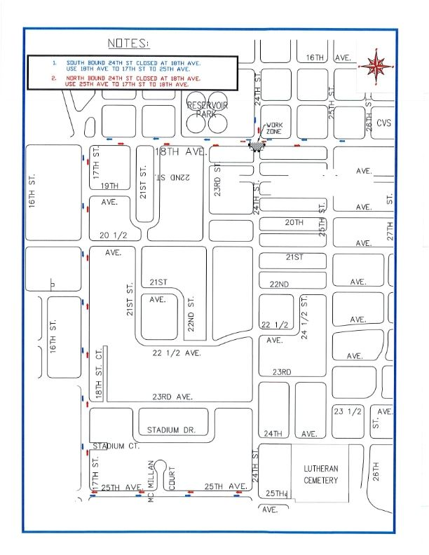 18 AV 24 ST Intersection, South Side Map