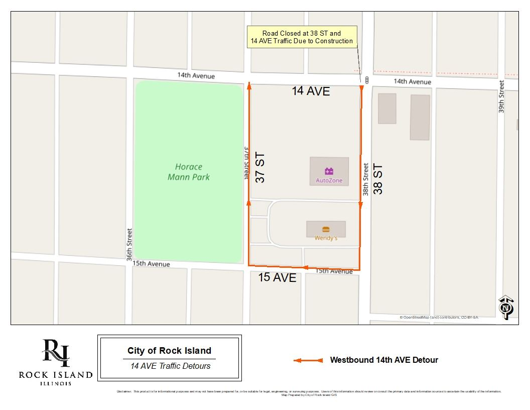 38 ST 14 AV Detour Map