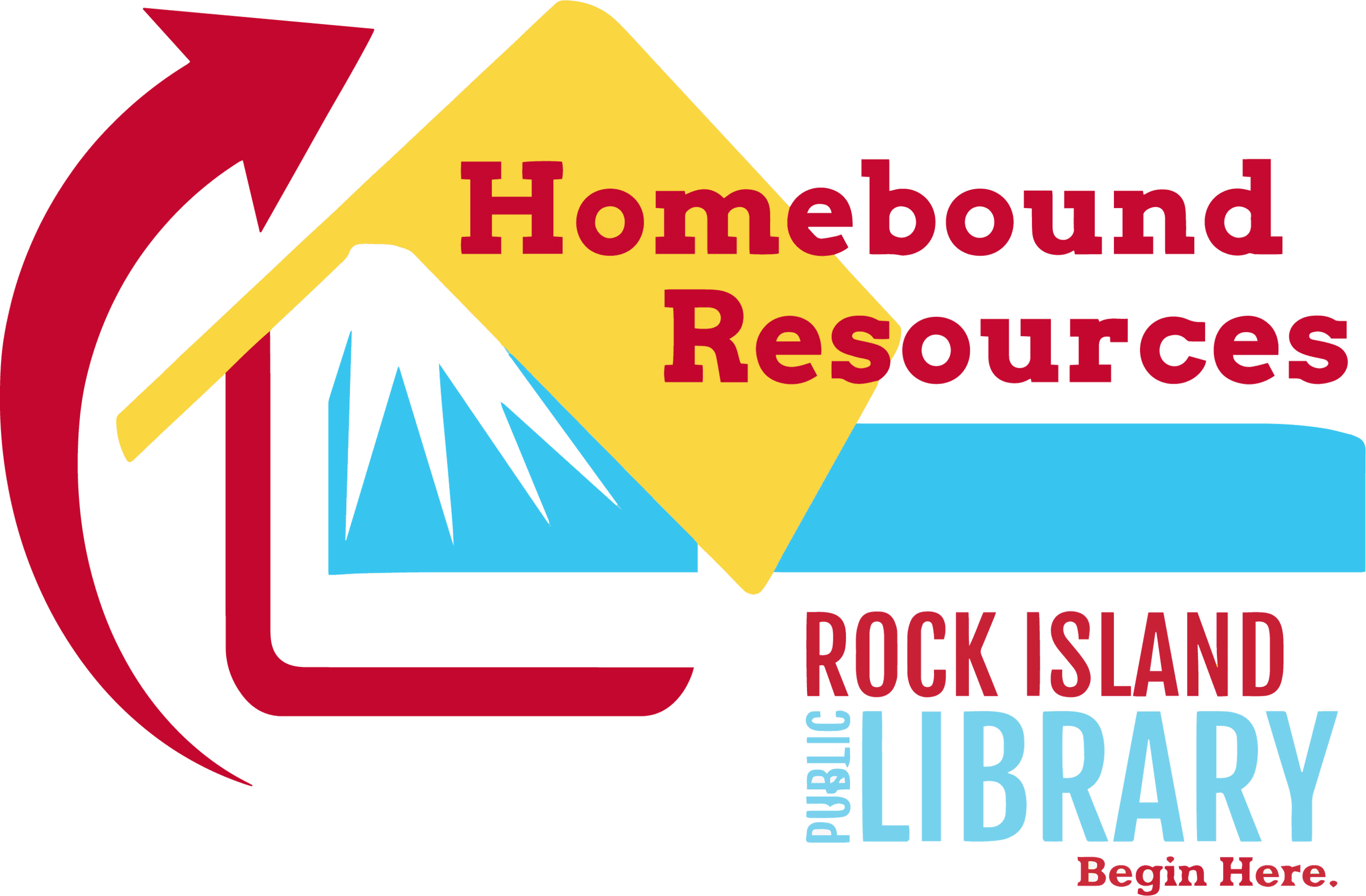 HomeBound_Resources_Logo_Stylized House roof with words Homebound Resources and library logo