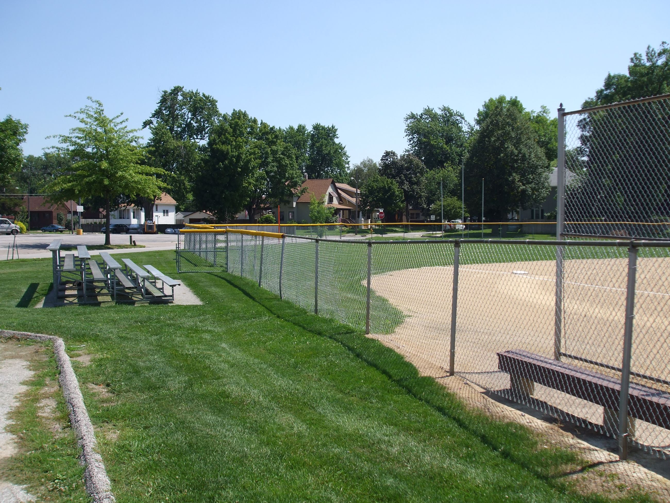 Bleachers at baseball field in Old Horace Mann Park
